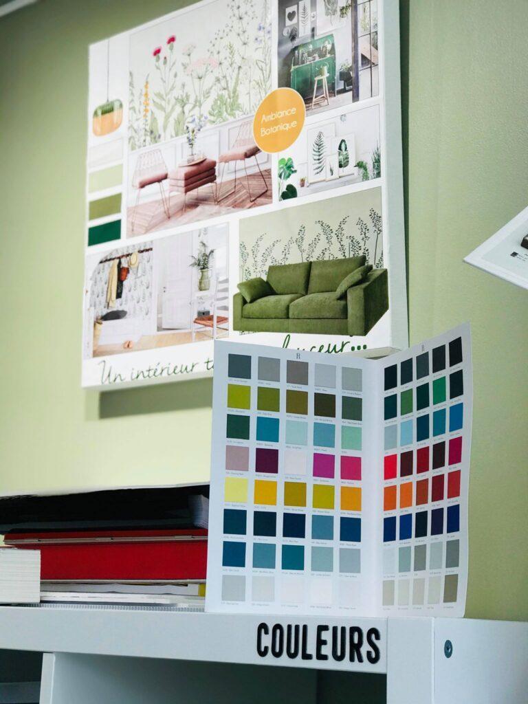 Planche de style et nuancier couleurs dans le showroom de CREA-DECO, Décoratrice d'intérieur à Honfleur 14