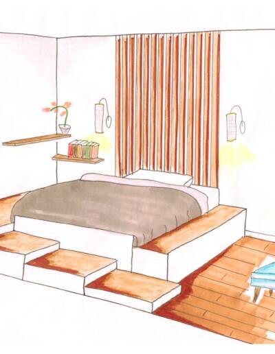 Rénovation Appartement et atelier d'artiste en triplex à Honfleur - croquis de la chambre, par CREA DECO, Décoratrice UFDI à Honfleur, Deauville, Caen - 14