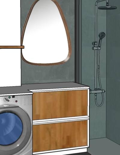 Rénovation Appartement et atelier d'artiste en triplex à Honfleur - vue 3D salle de bains, par CREA DECO, Décoratrice UFDI à Honfleur, Deauville, Caen - 14